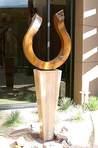 patina golden bronze fountain outdoor concrete base