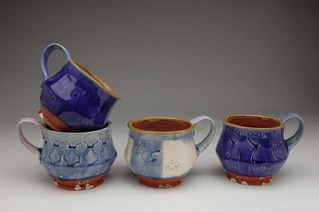mugs cups earthenware blue and white terra cotta