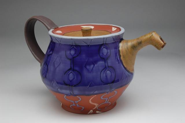 blue teapot earthenware