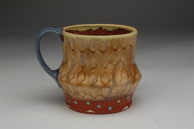 cup mug earthenware slip colored glaze terra cotta