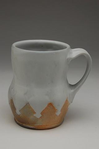 Curvy cup, white satin glaze