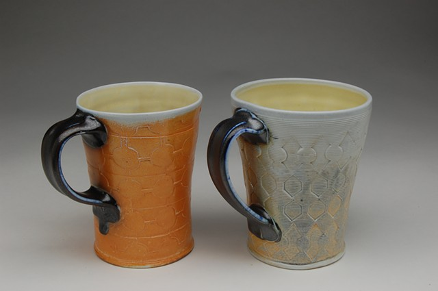 soda-fired porcelain mugs