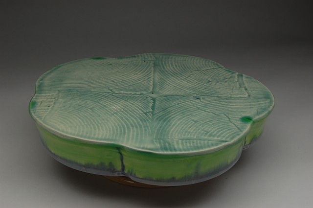 cake stand reversible wood grain surface