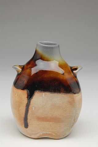 small bottle soda-fired tenmoku glaze drip
