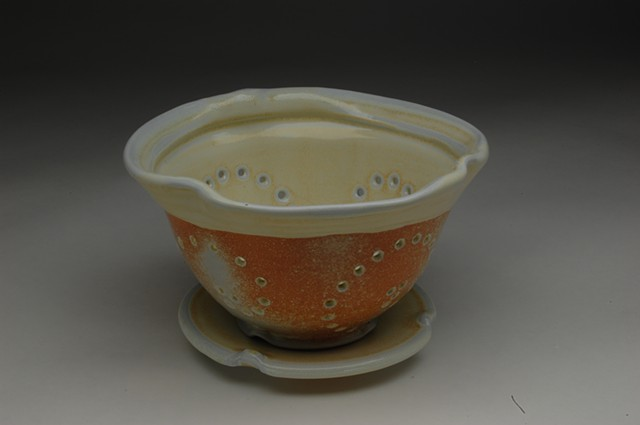 berry bowl and saucer soda-fired porcelain