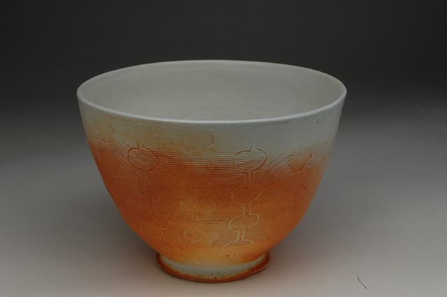 soda-fired bowl carved and stamped