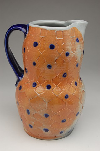 Large soda-fired pitcher, blue dots