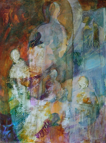 """Making Present"" is an original award winning acrylic painting on paper of spiritual content by Gainesville FL artist Jim Carpenter"