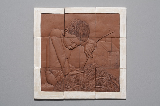Hand cut tiles, carved, with stain and terra sigillata