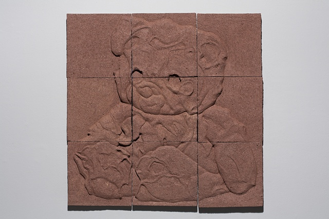 Press molded and carved brick clay, tiles, wall panel