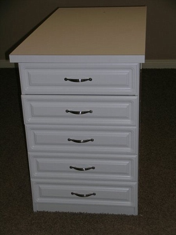 10 Drawer White Melamine Island Cabinet With Raised Panel Fronts And Laminate Countertop