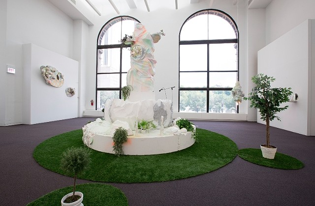 "Installation view ""here and there pink melon joy (purgatory)"""