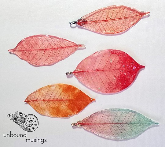 Skeleton Leaves in Reds and Orange