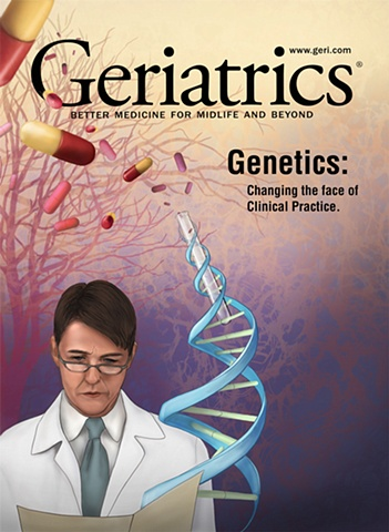 Geriatrics magazine mock up cover highlighting the role genetics, medicine and research have