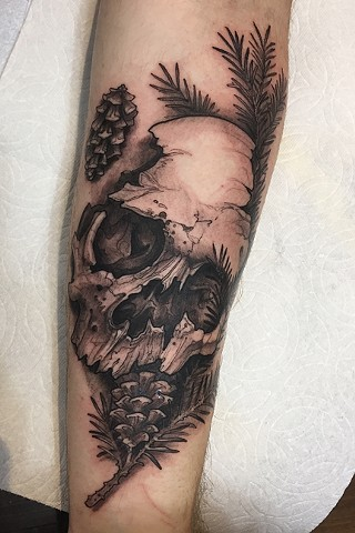 human skull tattoo with pine branches