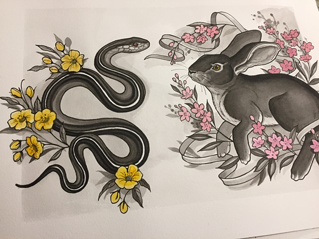 January Flash Tattoo sheet bunny and snake.