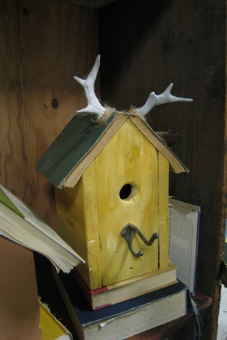 A Book-Topped Birdhouse with Antlers