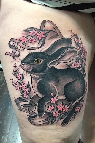 Flash Day bunny and pink flowers