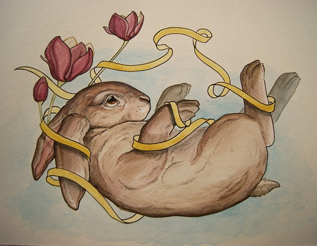 bunny painting rabbit ribbon.