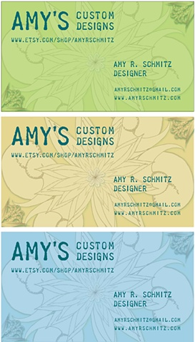 trio of colored business cards for Amy's Custom Designs