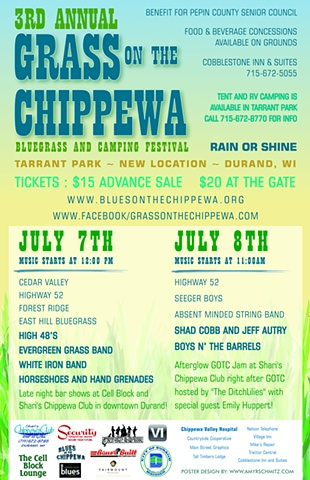 poster for local 3rd Annual Grass On The Chippewa Bluegrass Festival in Durand, WI