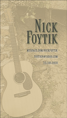 business card design for musician Nick Foytik