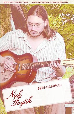 Poster design for acoustic blues musician Nick Foytik