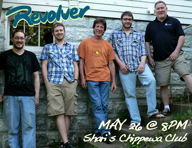 poster for local band Revolver at Shari's Chippewa Club in Durand, WI