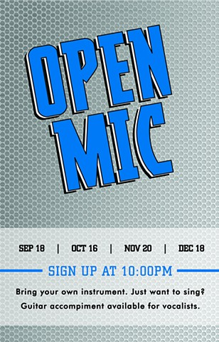 Open Mic Night poster design for the Waterfront Bar and Grill