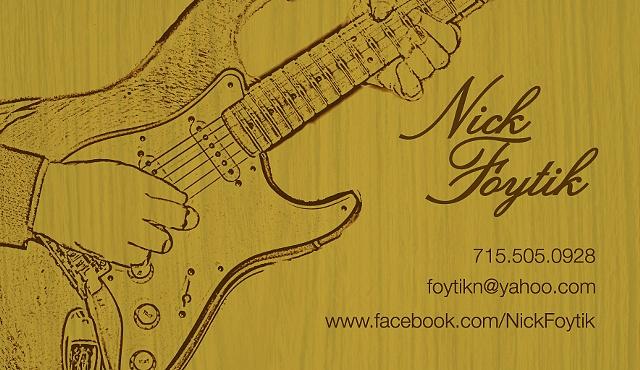 Musician / Guitarist business card for Nick Foytik