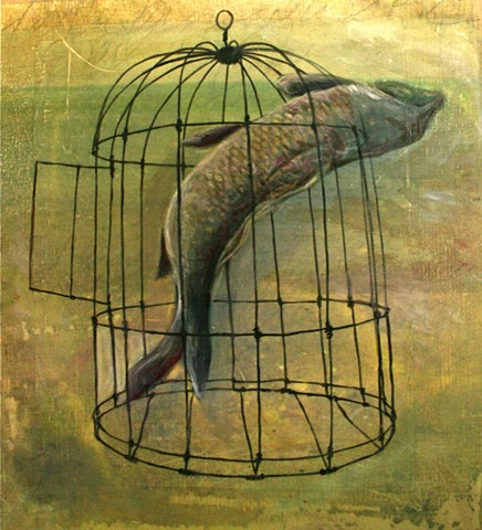 carp birdcage oil painting