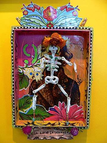 Mexican Loteria card series, beadwork, tin and paper collage