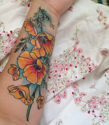 California Poppies Healed Arm Tattoo