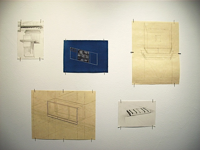 Title Wall  (detail) of 5 drawings