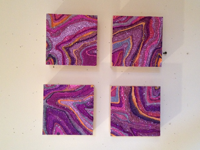Summer 2012 Studio--glitter drawings in progress