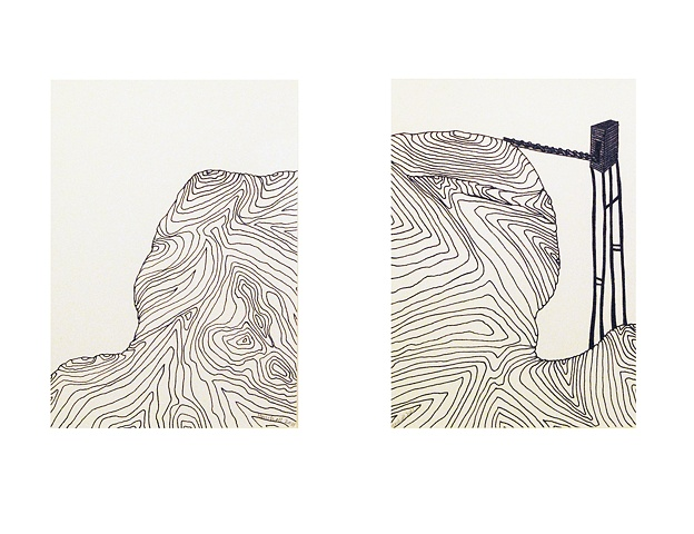 Undulating Ground with Tall Tower (diptych)