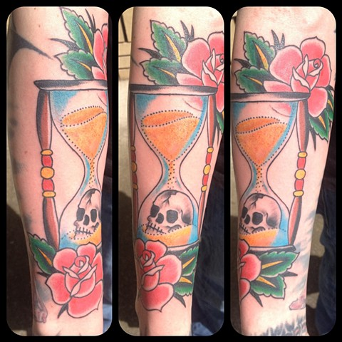 Hourglass Skull Tattoo - Eugene, Oregon