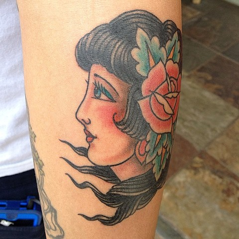 Girl Head tattoo - Lahaina, Maui