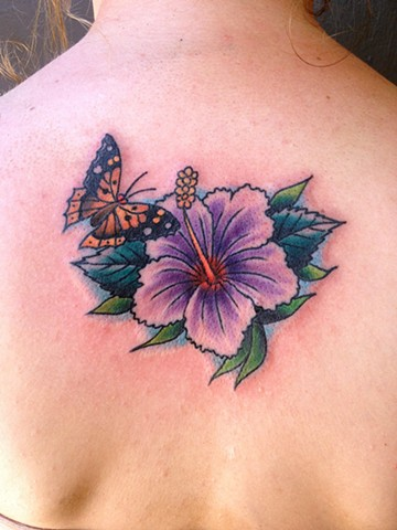 Butterfly Hibiscus Tattoo - Lahaina, Maui