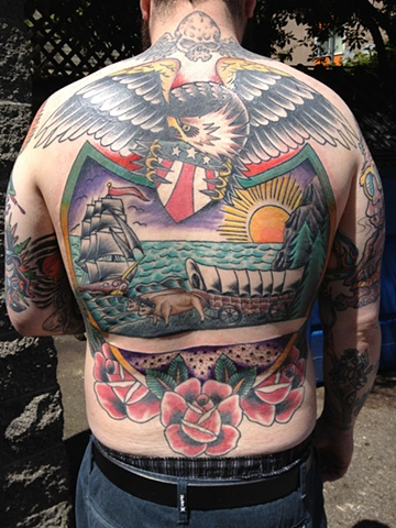 Oregon Flag back piece tattoo