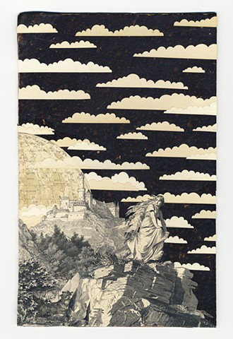Collage of woman and moon, wolves and clouds by Rebekka Federle
