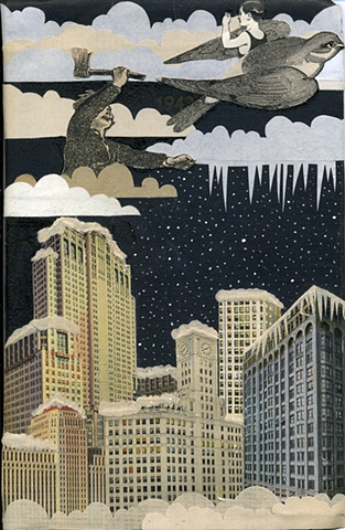 Chicago Winter Sky Scene ax bird Rebekka Federle Art Artist Collage children