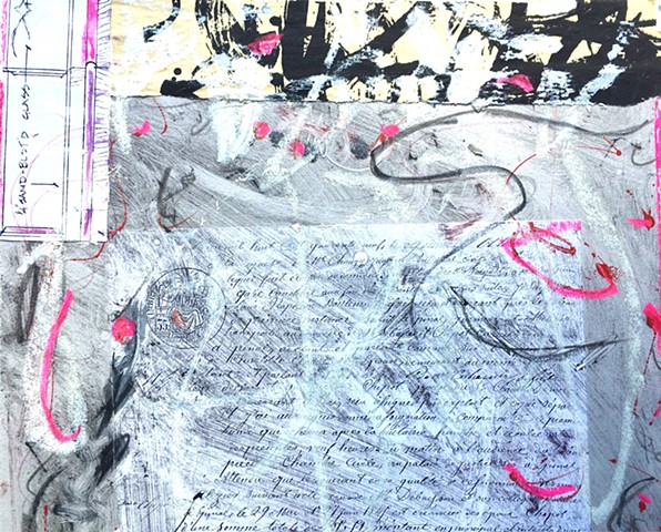 contemporary art, mixed media, french document
