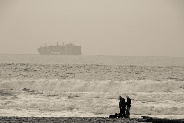 Pacific Ocean with Barge and couple
