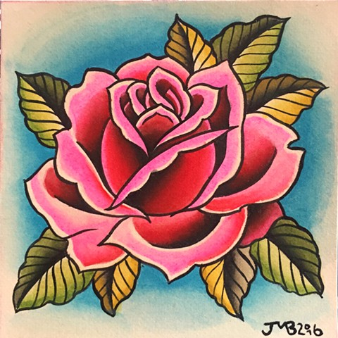 Traditional pink rose tattoo painting, made in Toronto