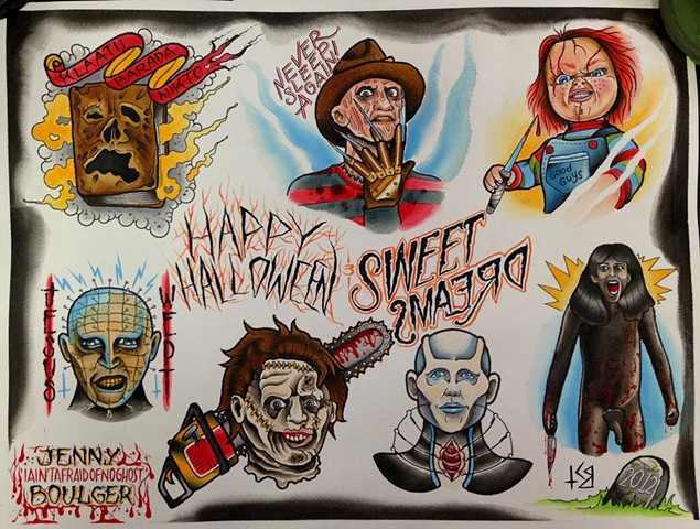 Horror movie tattoo flash designs featuring Freddy Krueger, Pinhead, Chucky, Necronomicon. Painted in Toronto