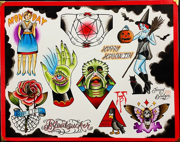 Halloween traditional tattoo flash designs in colour. Featuring a witch, monster, rose, pentagram. Painted in Toronto