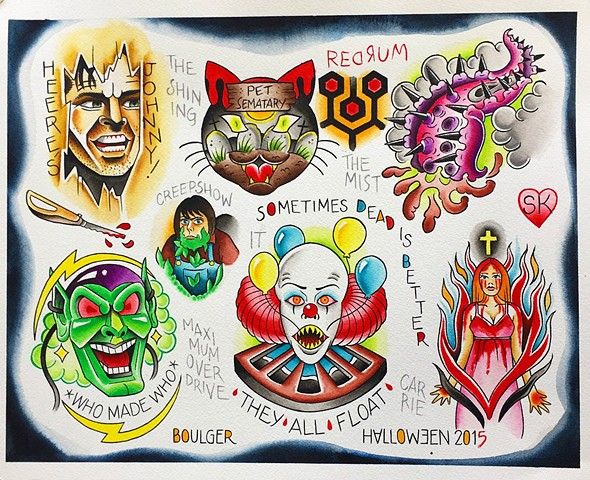 Stephen King tattoo traditional flash designs featuring The Shining, It, Pet Sematary, The Mist, Maximum Overdrive. Painted in Toronto