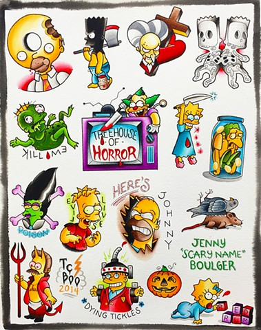 The Simpsons traditional tattoo designs from Treehouse of Horror. Featuring Bart, Homer, Flanders, Marge, Lisa. Painted in Toronto