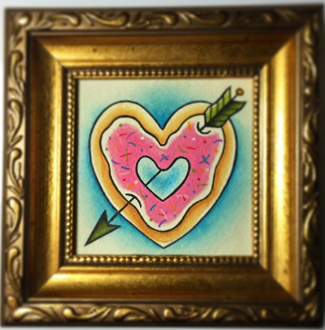 Traditional donut heart tattoo painting, made in Toronto
